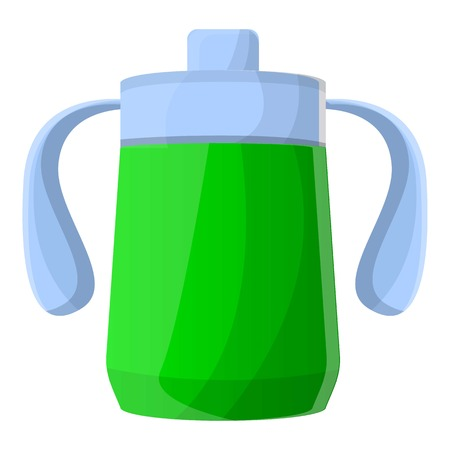 Green sippy cup icon. Cartoon of green sippy cup icon for web design isolated on white background