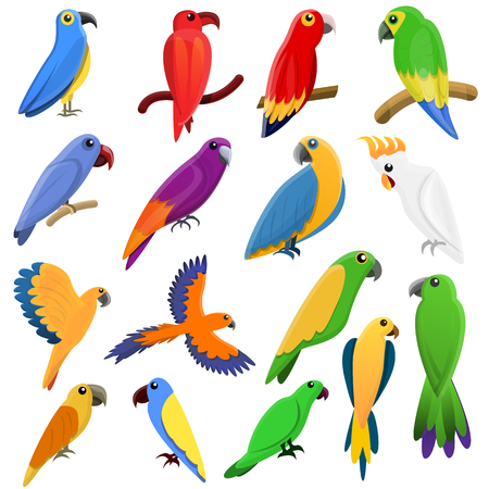Parrot icons set. Cartoon set of parrot icons for web design Zdjęcie Seryjne