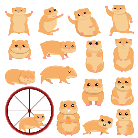 Hamster icons set. Cartoon set of hamster icons for web design