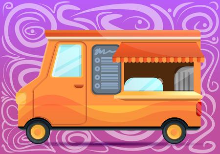 Food truck concept banner. Cartoon illustration of food truck concept banner for web design