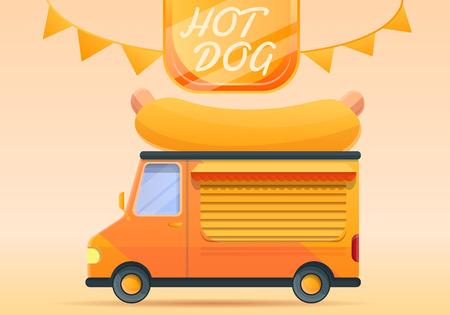 Hot dog food truck concept banner. Cartoon illustration of hot dog food truck concept banner for web design