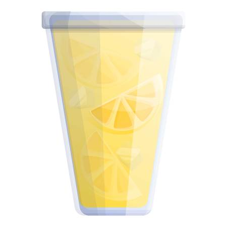 Lemonade ice fresh glass icon. Cartoon of lemonade ice fresh glass icon for web design isolated on white background