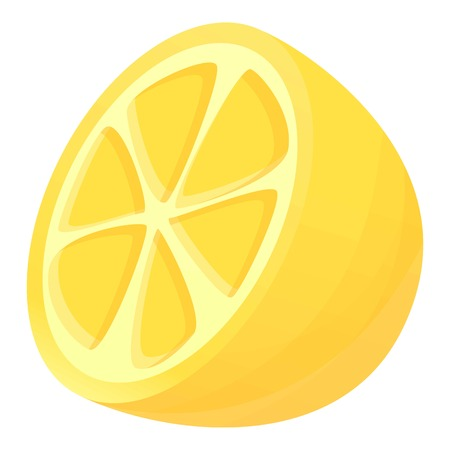 Half of lemon icon. Cartoon of half of lemon icon for web design isolated on white background Zdjęcie Seryjne