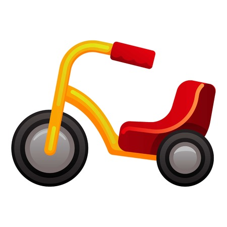 Plastic tricycle icon. Cartoon of plastic tricycle vector icon for web design isolated on white background