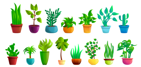 Houseplants icons set. Cartoon set of houseplants vector icons for web design Illustration