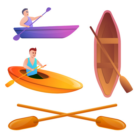 Canoeing icons set. Cartoon set of canoeing vector icons for web design