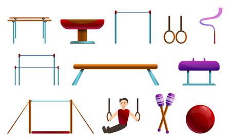 Gymnastics equipment icons set. Cartoon set of gymnastics equipment vector icons for web design Illustration