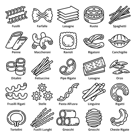 Fusilli icons set. Outline set of fusilli icons for web design isolated on white background Banque d'images