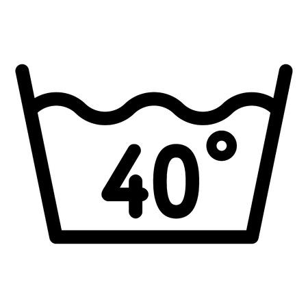 40도 이하에서 세탁하세요. 흰색 배경에 고립 된 웹 디자인을위한 40도 또는 벨로우즈 아이콘에서 개요 세척