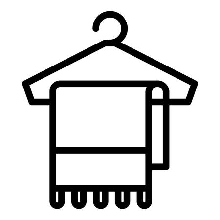 Towel on hanger icon. Outline towel on hanger icon for web design isolated on white background Stock Photo