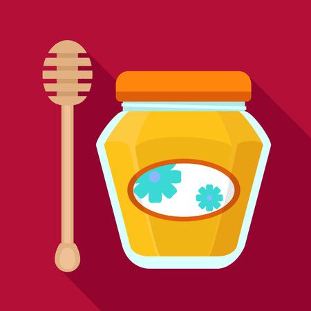 Honey jar icon. Flat illustration of honey jar icon for web design Stock Illustration - 122535523