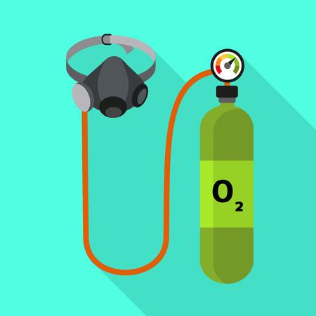 Oxygen cylinder icon. Flat illustration of oxygen cylinder icon for web design Stock Photo