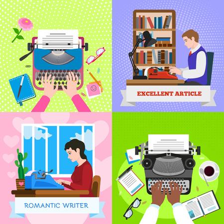 Conjunto de banner de trabajo de máquina de escribir. Ilustración plana de banner de trabajo de máquina de escribir para diseño web Foto de archivo