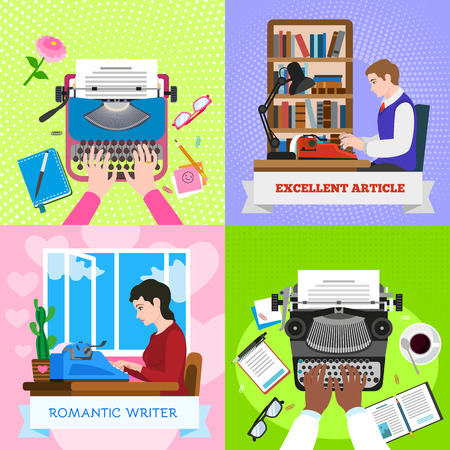 Typewriter work banner set. Flat illustration of typewriter work banner set for web design Banco de Imagens