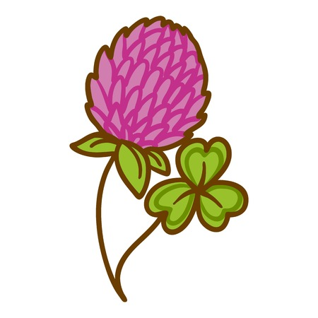 Trefoil flower icon. Hand drawn illustration of trefoil flower icon for web design