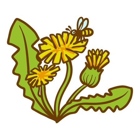 Dandelion flower icon. Hand drawn illustration of dandelion flower icon for web design