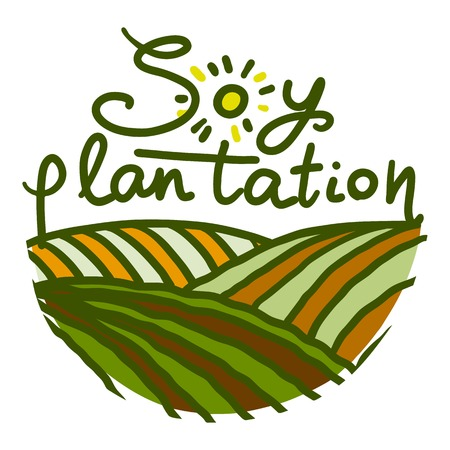 Soy plantation icon. Hand drawn illustration of soy plantation icon for web design