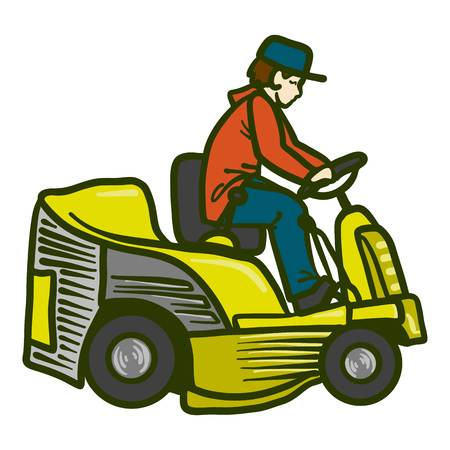 Tractor grass cutter icon. Hand drawn illustration of tractor grass cutter icon for web design