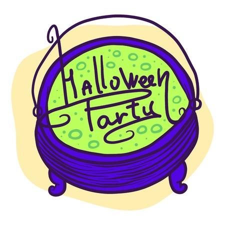 Halloween party green potion icon. Hand drawn illustration of Halloween party green potion icon for web design Stock Photo
