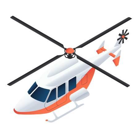 Ambulance helicopter icon. Isometric of ambulance helicopter icon for web design isolated on white background