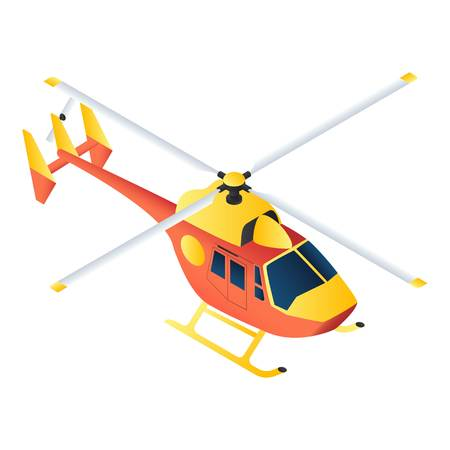 Rescue helicopter icon. Isometric of rescue helicopter icon for web design isolated on white background
