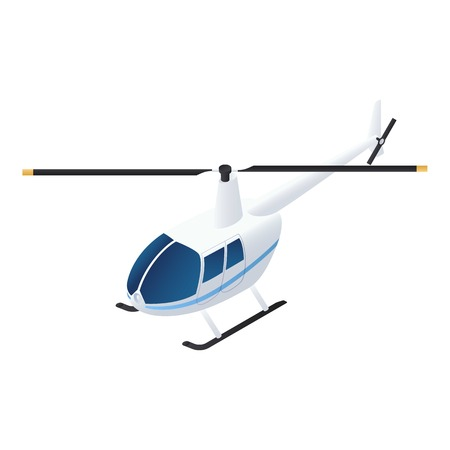 Civil helicopter icon. Isometric of civil helicopter icon for web design isolated on white background
