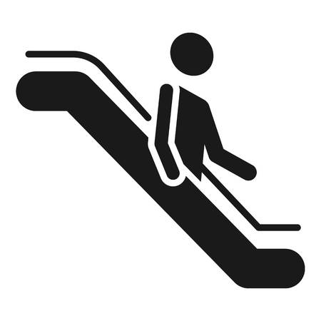 Man goes down the escalator icon. Simple illustration of man goes down the escalator icon for web design isolated on white background Stock Photo