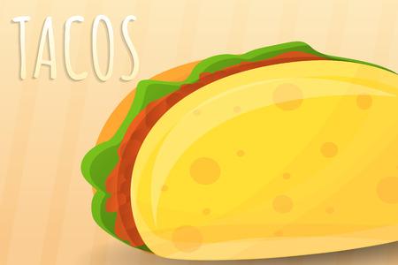 Mexican tacos concept banner. Cartoon illustration of mexican tacos concept banner for web design
