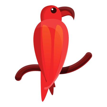 Red parrot icon. Cartoon of red parrot icon for web design isolated on white background