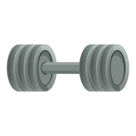 Metal barbell icon. Cartoon of metal barbell icon for web design isolated on white background