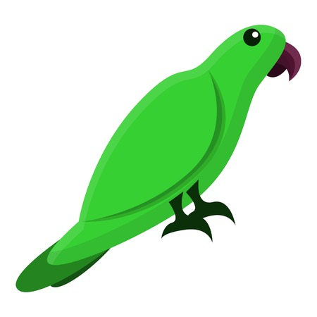 Green parrot icon. Cartoon of green parrot icon for web design isolated on white background Zdjęcie Seryjne