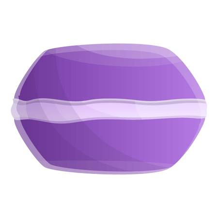 Violet macaroon icon. Cartoon of violet macaroon icon for web design isolated on white background