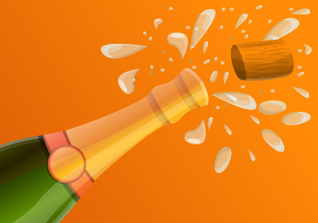 Explosion champagne bottle concept banner. Cartoon illustration of explosion champagne bottle concept banner for web design 版權商用圖片 - 122538584