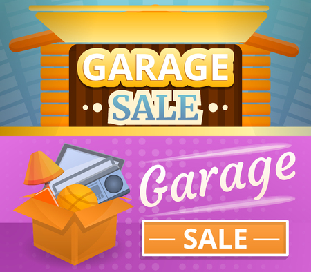 Garage sale banner set. Cartoon illustration of garage sale banner set for web design
