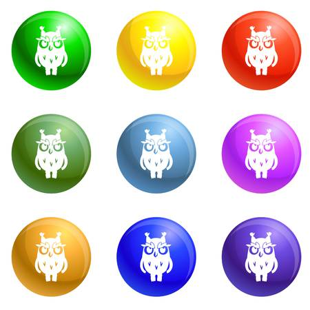 Owl icons 9 color set isolated on white background for any web design Stock Photo