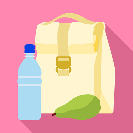 Lunch backpack icon. Flat illustration of lunch backpack icon for web design
