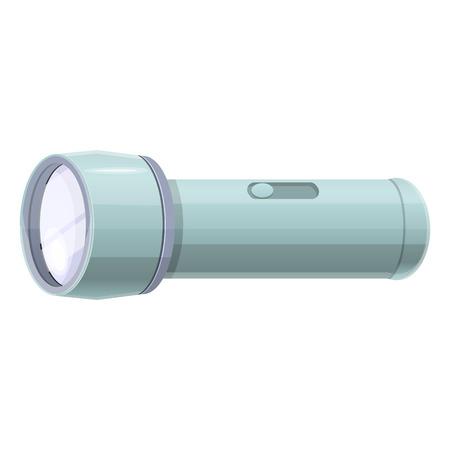 Plastic flashlight icon. Cartoon of plastic flashlight icon for web design isolated on white background