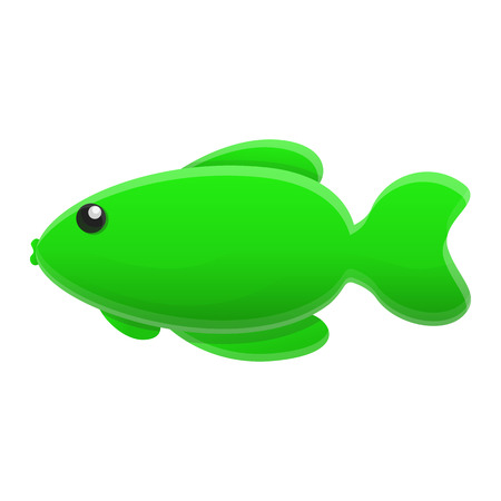 Green fish icon. Cartoon of green fish icon for web design isolated on white background