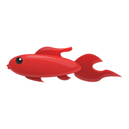 Red fish icon. Cartoon of red fish icon for web design isolated on white background