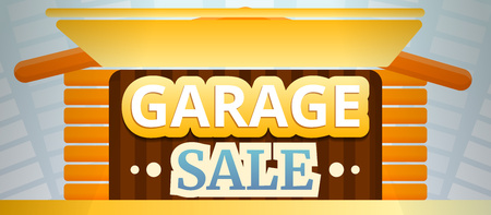 Garage sale concept banner. Cartoon illustration of garage sale concept banner for web design