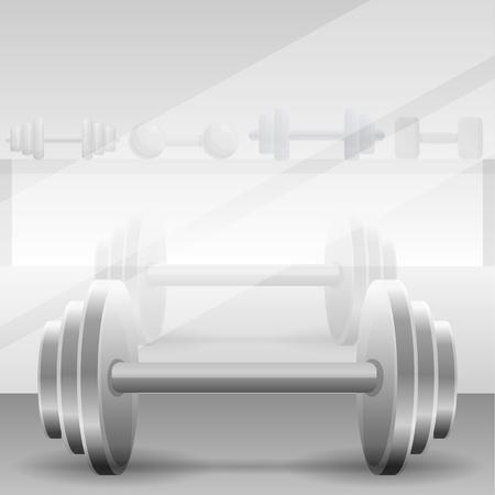 Metal dumbbell concept background. Cartoon illustration of metal dumbbell concept background for web design