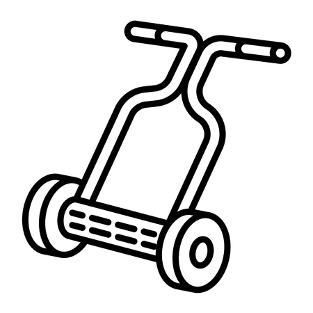 Hand lawnmower icon. Outline hand lawnmower icon for web design isolated on white background