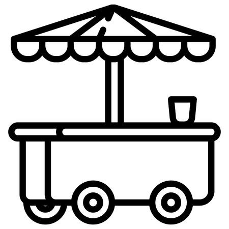 Ice cream kiosk icon. Outline ice cream kiosk icon for web design isolated on white background
