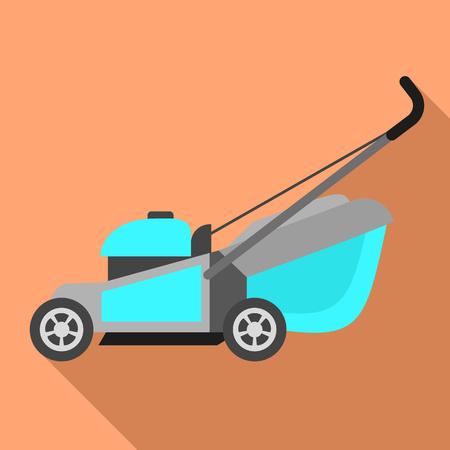 Motor lawnmower icon. Flat illustration of motor lawnmower icon for web design