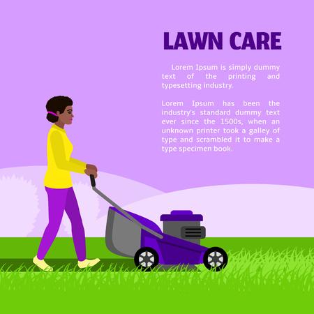 Lawn care concept background. Flat illustration of lawn care concept background for web design
