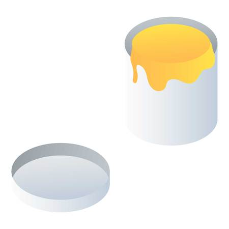 Open paint jar icon. Isometric of open paint jar icon for web design isolated on white background Reklamní fotografie