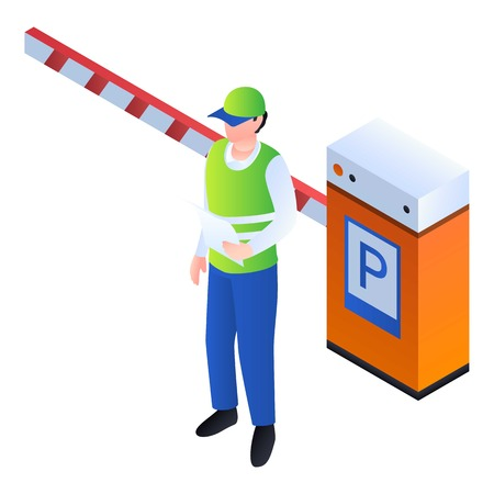 Valet man at barrier icon. Isometric of valet man at barrier icon for web design isolated on white background