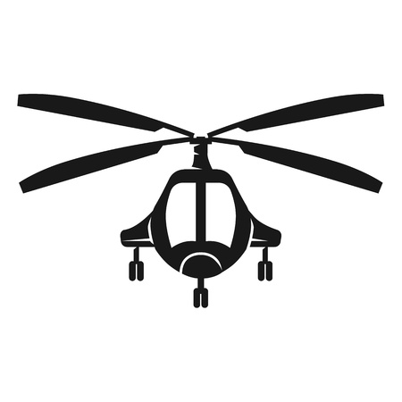 Passenger helicopter front view icon. Simple illustration of passenger helicopter front view icon for web design isolated on white background Stock Photo