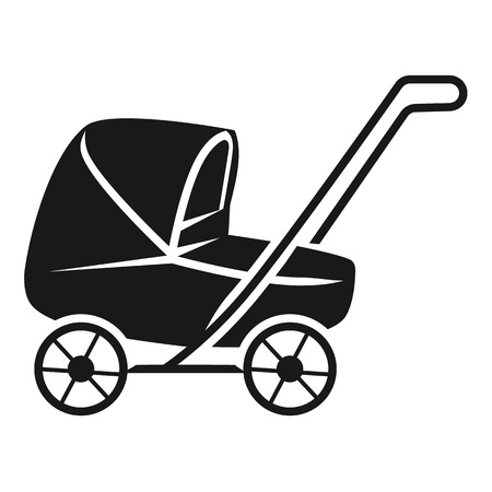 Lowered baby stroller icon. Simple illustration of lowered baby stroller icon for web design isolated on white background