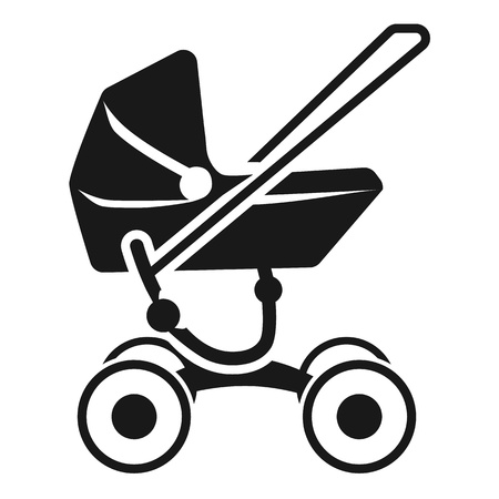 Modern baby stroller icon. Simple illustration of modern baby stroller icon for web design isolated on white background Stock Photo